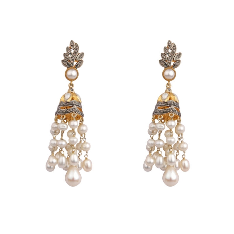 diamond jewellery pinterest jhumkas images two step jhumka best bridal on